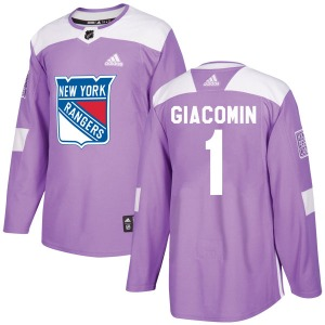 Eddie Giacomin New York Rangers Adidas Authentic Purple Fights Cancer Practice Jersey